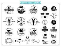 Seafood Labels, Sea Animals and Design Elements Stock Photo