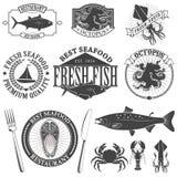 Seafood labels set Stock Photos