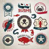 Seafood labels set Royalty Free Stock Photos