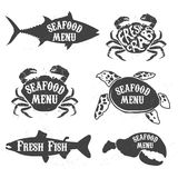 Seafood labels set Stock Photo