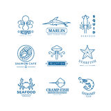 Seafood labels thin line vector logos, emblems Stock Image
