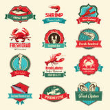 Seafood labels Stock Photo