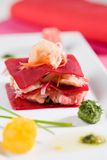 Seafood lasagna. With shrimps and red beet Royalty Free Stock Images