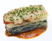 Seafood Lasagna. Fusion style seafood lasagna with tomato sauce Stock Images