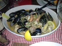 Seafood. Light dinner of seafood.Very delicious mussels Stock Photo