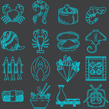 Seafood line icons collection Royalty Free Stock Photo