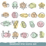 Seafood line icons Stock Images