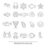 Seafood line icons Royalty Free Stock Photos