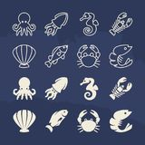 Seafood linear and silhouette icons set on grunge background. Vector seafood fish and octopus, underwater animals and shellfish illustration Stock Photos