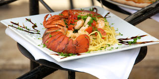 Seafood linguine Stock Photos