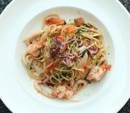 Seafood linguine pasta stock image