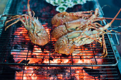 Seafood Lobster barbecue Stock Photos