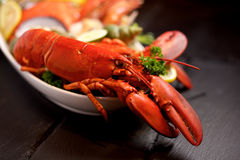 Seafood lobster plater on slate Stock Photo