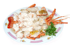 Seafood lobster prawn cuisine. Delicious seafood lobster prawn cuisine royalty free stock photo