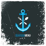 Seafood logo with anchor, fork and spoon Stock Photography
