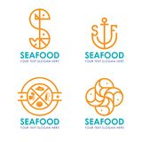 Seafood logo with orange border line modern style vector design Royalty Free Stock Image