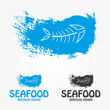 Seafood logo and symbol. Fish on blue background. A logo design for seafood restaurant. Vector illustration Stock Photos