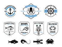 Seafood Logos, Labels, Sea Animals and Design Elements Stock Photos
