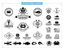 Seafood Logos, Labels, Sea Animals and Design Elements Royalty Free Stock Image