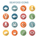 Seafood long shadow icons Stock Photo
