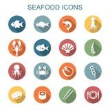 Seafood long shadow icons. Flat vector symbols Stock Photo