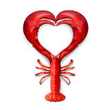 Seafood Love. Concept as a boiled lobster shaped as a heart symbol as a metaphor for fresh sea food from the ocean or promoting a fish dinner or marketing a royalty free illustration