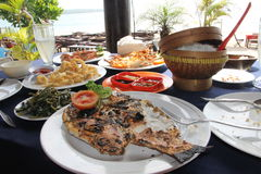 Seafood lunch in Bali. Seafood lunch on the shore of the Indian ocean Royalty Free Stock Photos