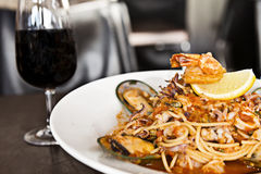 Seafood marinara with wine Royalty Free Stock Images