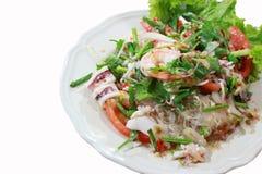 Isolated white background.Seafood marinated salad Stock Images