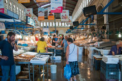 Seafood on the market of Athens on August 1, Greece. Royalty Free Stock Image