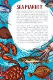 Seafood market and fish restaurant poster. Seafood market and fish restaurant sketch poster. Ocean crab, lobster, shrimp or prawn, tuna, squid, flounder Royalty Free Stock Photos