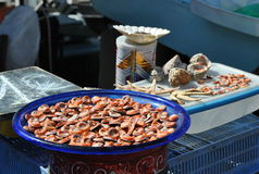 Seafood market in Marseille. Seafood on a plate in street market in old port Marseille Stock Image