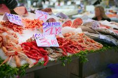 Seafood in market over ice Stock Photo