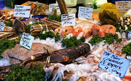Seafood market stall Stock Photo