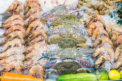 Seafood Market in Thailand. Seafood in night market Thailand Royalty Free Stock Image