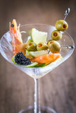 Seafood in martini glass Stock Photos