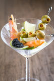 Seafood in martini glass Royalty Free Stock Image
