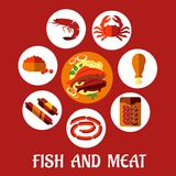 Seafood and mat flat icons Stock Images