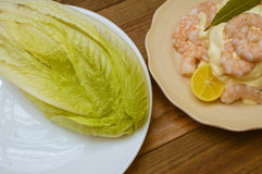 Seafood with mayonnaise. Peeled prawns with mayonnaise Stock Photo