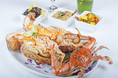 Seafood meal of crab and lobster Stock Photo