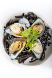 Seafood meal of oysters. Serve with noodles Stock Photography