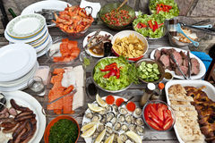 Seafood Meat Banquet Party. A spread of fresh food with seafood, meet, sashimi, salad, oysters, sausages, shrimp and salsa Stock Photos