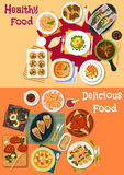 Seafood and meat dishes icon set for dinner menu Stock Images