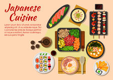Seafood and meat dishes of japanese cuisine icon. Japanese stylized grilled beef yakiniku flat icon served with fresh vegetables and herbs, salmon sashimi, sushi Stock Photo