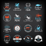 Seafood menu and badges design elements. Royalty Free Stock Photo