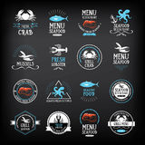 Seafood menu and badges design elements.  Vector with graphic. Stock Image