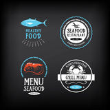 Seafood menu and badges design elements. Vector with graphic. Stock Images