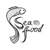 Seafood menu banner. Fish isolated with tag. Fish label. Sea food menu sketch background sign Royalty Free Stock Images