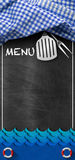 Seafood Menu - Blackboard with Blue Waves. Blackboard with blue and white checkered tablecloth, kitchen utensils, blue waves and text Menu. Template for fish Stock Photos