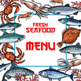 Seafood menu card or poster vector template. Seafood menu vector template for fish and sea food restaurant. Fresh tuna, salmon and lobster crab, trout or Stock Photography